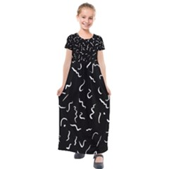 Scribbles Lines Painting Kids  Short Sleeve Maxi Dress