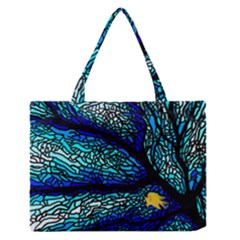 Sea Coral Stained Glass Zipper Medium Tote Bag by HermanTelo