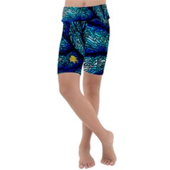 Sea Coral Stained Glass Kids  Lightweight Velour Cropped Yoga Leggings