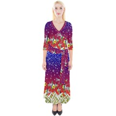 Sea Snow Christmas Coral Fish Quarter Sleeve Wrap Maxi Dress by HermanTelo