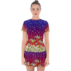 Sea Snow Christmas Coral Fish Drop Hem Mini Chiffon Dress