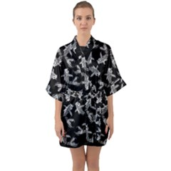 Koi Fish Pattern Quarter Sleeve Kimono Robe by Valentinaart
