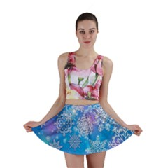 Snowflake Background Blue Purple Mini Skirt