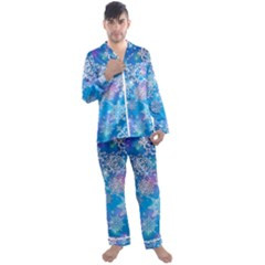 Snowflake Background Blue Purple Men s Satin Pajamas Long Pants Set