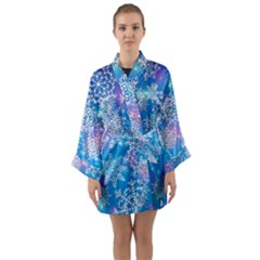 Snowflake Background Blue Purple Long Sleeve Kimono Robe by HermanTelo