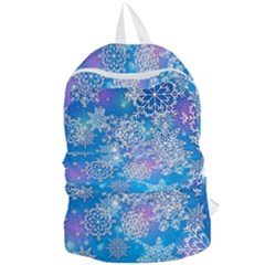 Snowflake Background Blue Purple Foldable Lightweight Backpack