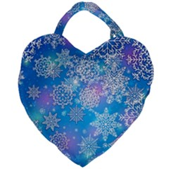 Snowflake Background Blue Purple Giant Heart Shaped Tote by HermanTelo