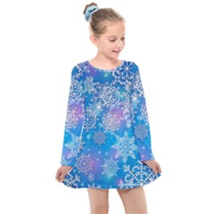 Snowflake Background Blue Purple Kids  Long Sleeve Dress by HermanTelo