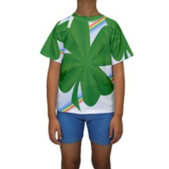 Shamrock Clover Saint Patrick Leaves Kids  Short Sleeve Swimwear
