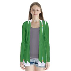 Shamrock Clover Saint Patrick Leaves Drape Collar Cardigan