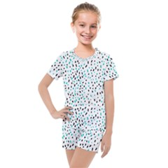 Seamless Texture Fill Polka Dots Kids  Mesh Tee And Shorts Set