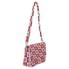 Snowflake Red White Shoulder Bag With Back Zipper by HermanTelo