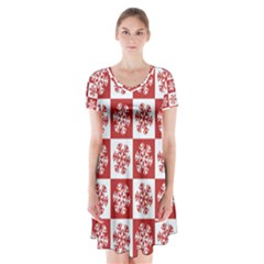 Snowflake Red White Short Sleeve V Neck Flare Dress by HermanTelo