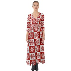 Snowflake Red White Button Up Boho Maxi Dress by HermanTelo