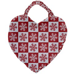 Snowflake Red White Giant Heart Shaped Tote by HermanTelo