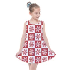 Snowflake Red White Kids  Summer Dress by HermanTelo