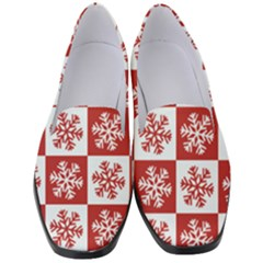 Snowflake Red White Women s Classic Loafer Heels by HermanTelo