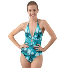 Stars Christmas Ice 3d Halter Cut Out One Piece Swimsuit