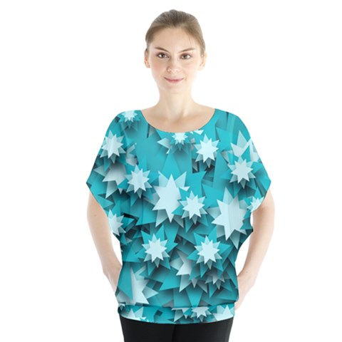 Stars Christmas Ice 3d Batwing Chiffon Blouse by HermanTelo