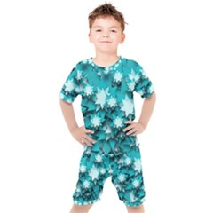 Stars Christmas Ice 3d Kids  Tee And Shorts Set by HermanTelo