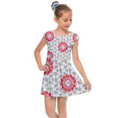 Stamping Pattern Red Kids  Cap Sleeve Dress by HermanTelo