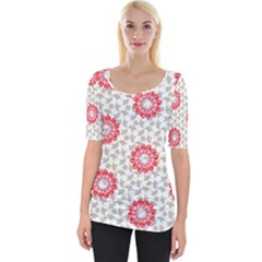 Stamping Pattern Red Wide Neckline Tee by HermanTelo