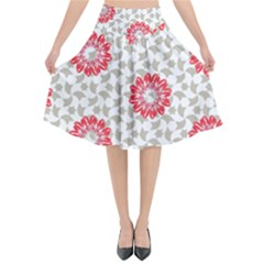 Stamping Pattern Red Flared Midi Skirt by HermanTelo
