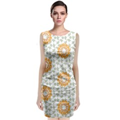 Stamping Pattern Yellow Classic Sleeveless Midi Dress