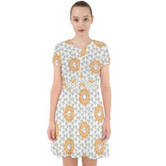 Stamping Pattern Yellow Adorable In Chiffon Dress