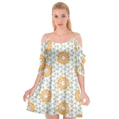 Stamping Pattern Yellow Cutout Spaghetti Strap Chiffon Dress by HermanTelo