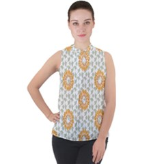 Stamping Pattern Yellow Mock Neck Chiffon Sleeveless Top by HermanTelo