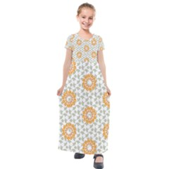Stamping Pattern Yellow Kids  Short Sleeve Maxi Dress by HermanTelo