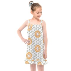 Stamping Pattern Yellow Kids  Overall Dress