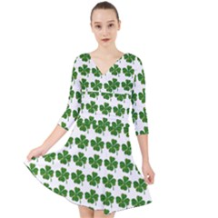 Shamrocks Clover Green Leaf Quarter Sleeve Front Wrap Dress