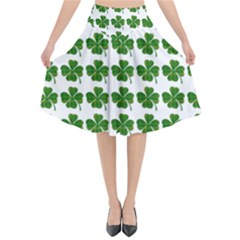 Shamrocks Clover Green Leaf Flared Midi Skirt