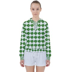 Shamrocks Clover Green Leaf Women s Tie Up Sweat by HermanTelo