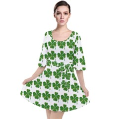 Shamrocks Clover Green Leaf Velour Kimono Dress