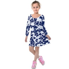 Navy & White Floral Design Kids  Long Sleeve Velvet Dress by WensdaiAddamns