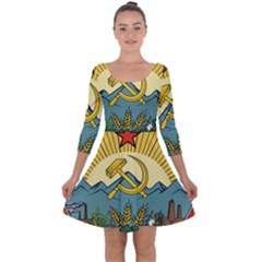 Emblem Of Transcaucasian Socialist Federative Soviet Republic, 1930-1936 Quarter Sleeve Skater Dress by abbeyz71
