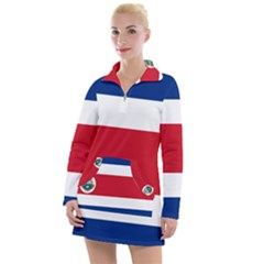 National Flag Of Costa Rica Women s Long Sleeve Casual Dress