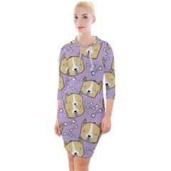 Corgi Pattern Quarter Sleeve Hood Bodycon Dress