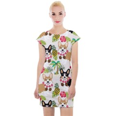 Corgis Hula Pattern Cap Sleeve Bodycon Dress