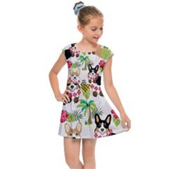 Corgis Hula Pattern Kids  Cap Sleeve Dress