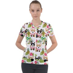 Corgis Hula Pattern Short Sleeve Zip Up Jacket
