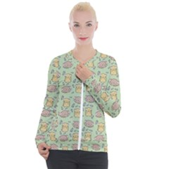 Hamster Pattern Casual Zip Up Jacket