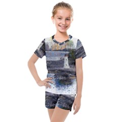 Lighthouse Art Sea Ocean Vintage Kids  Mesh Tee And Shorts Set by Sapixe