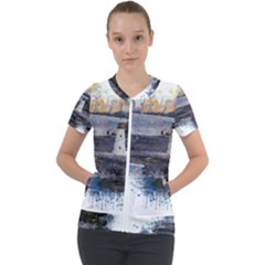 Lighthouse Art Sea Ocean Vintage Short Sleeve Zip Up Jacket