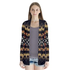 Fractal Stained Glass Ornate Drape Collar Cardigan by Sapixe