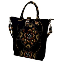 Fractal Stained Glass Ornate Buckle Top Tote Bag