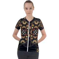 Fractal Stained Glass Ornate Short Sleeve Zip Up Jacket